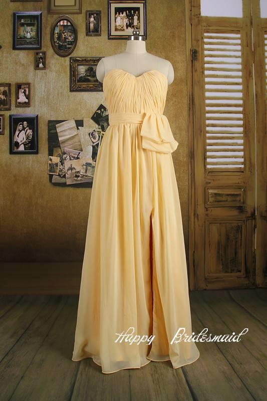 Daffodil Yellow Sweetheart Long Bridesmaid Dress Evening Dress