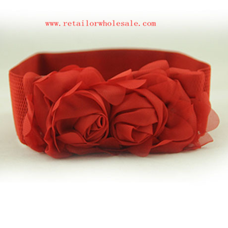 Wholesale Chiffon Flower Decoration Elastic Red Belt