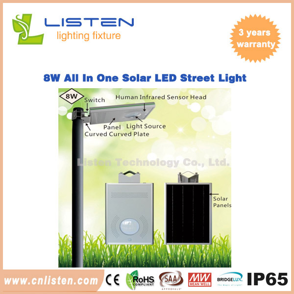 8W/12W All in One Solar LED Street Light CE RoHS IP65 Approved
