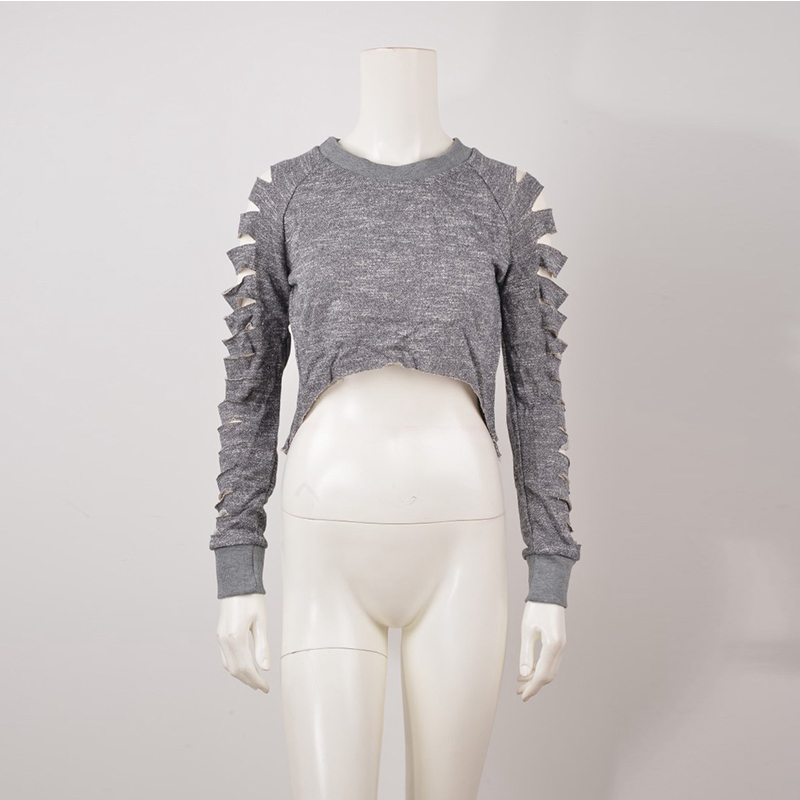2017 New Arrival Women Fashion Gray Sexy Cut Out Tops