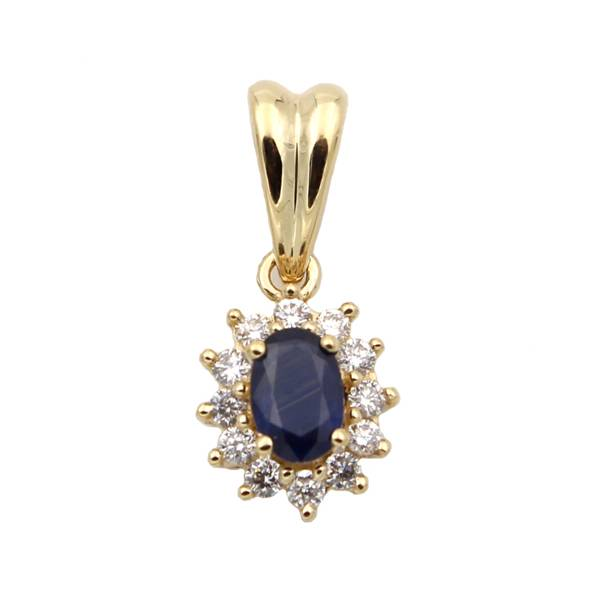 0.24ct Lady's Sapphire and Diamond Pendant in 18k yellow gold