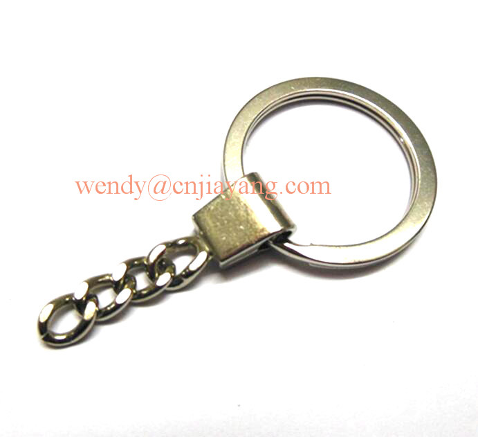 decorative metal key flat ring for keychain with link
