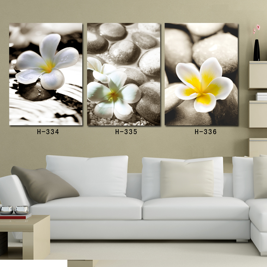 decorative flower oil painting on canvas 3 panel white flower canvas prints