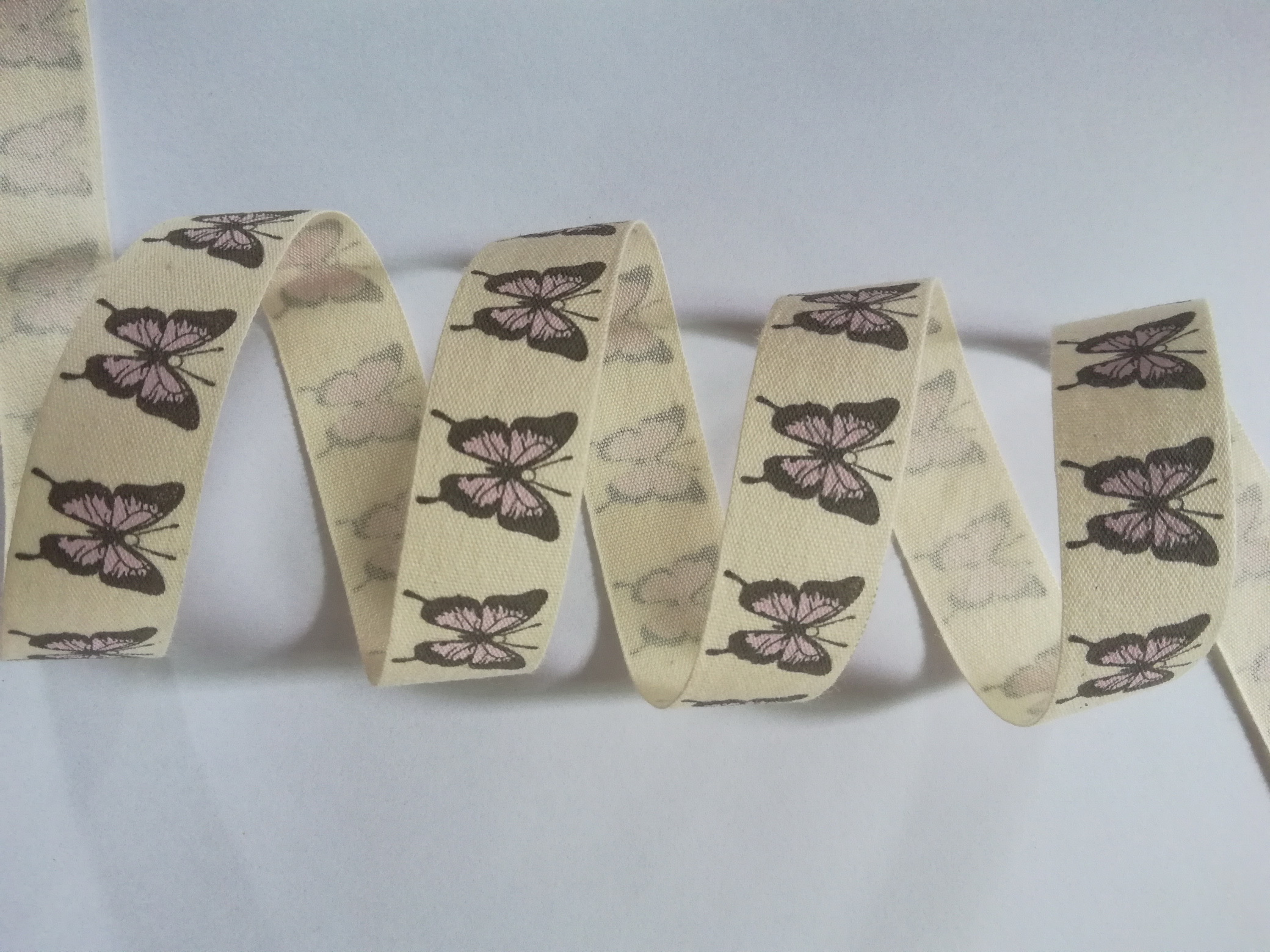cotton ribbon with printing butterfly