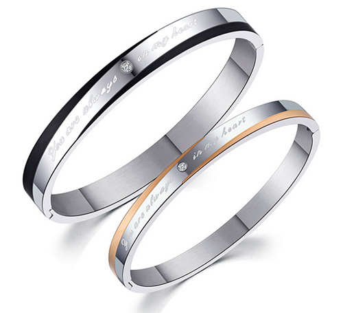 Promise Lettering Stainless Steel Couple Bangle