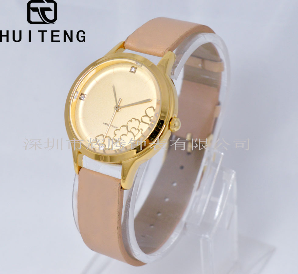 Fashion watch with alloy case flowers dial,IP plating,3ATM waterproof,quartz watch for lady