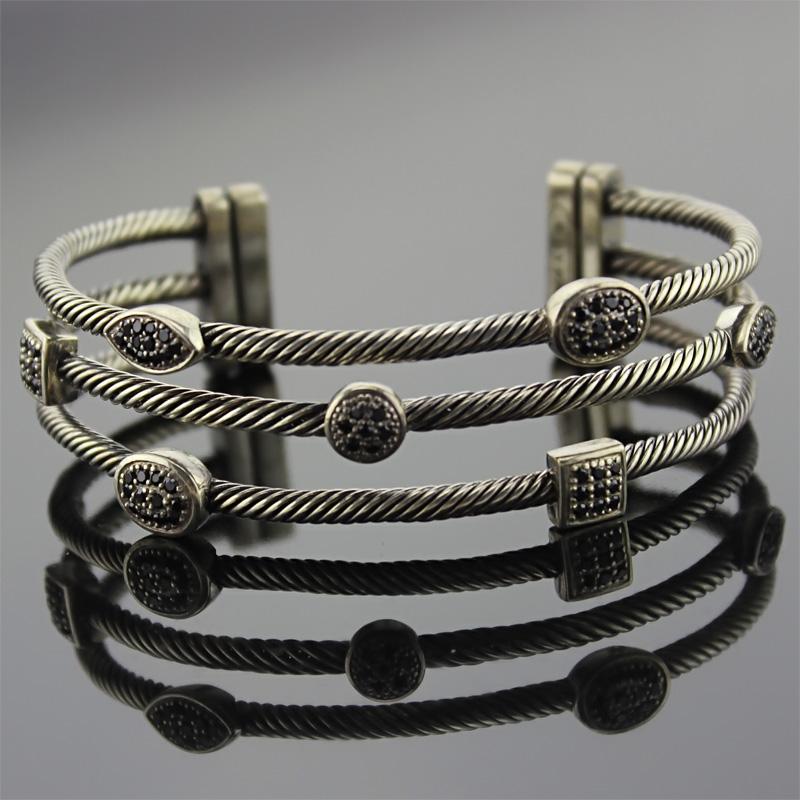 Sterling Silver Jewelry Three Row Diamond Bracelets (B-085)