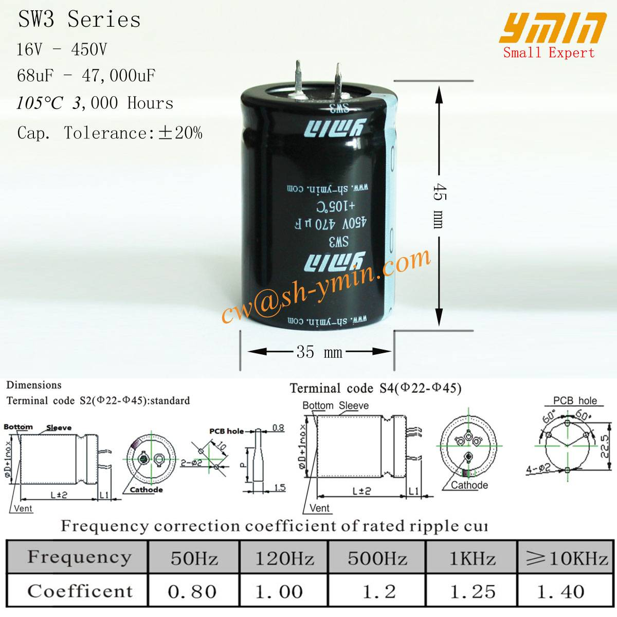 High Power Capacitor Snap in Aluminum Electrolytic Capacitor for Solar Power Inverter and Solar Phot