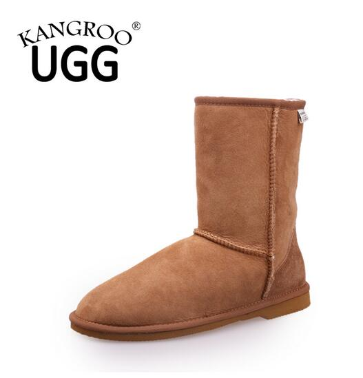 Casual Sheepskin Men and Women Mid Calf Boots