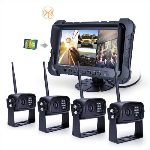 HOT 7 inch 2.4GHz digital Wireless Truck Camera Quad System with DVR