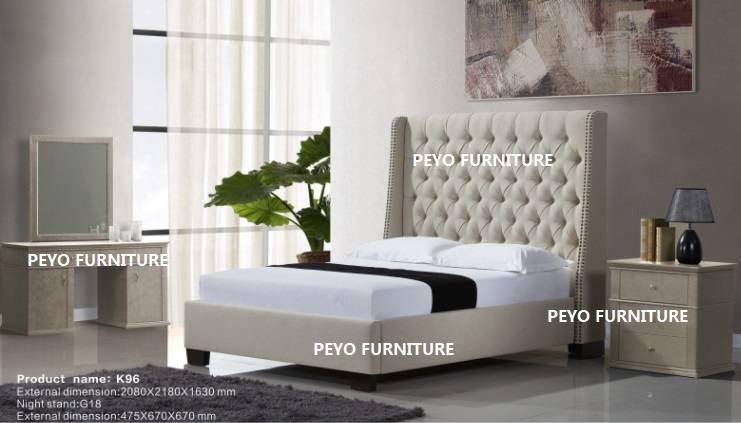 Modern UK style upholstered leather bedroom sets