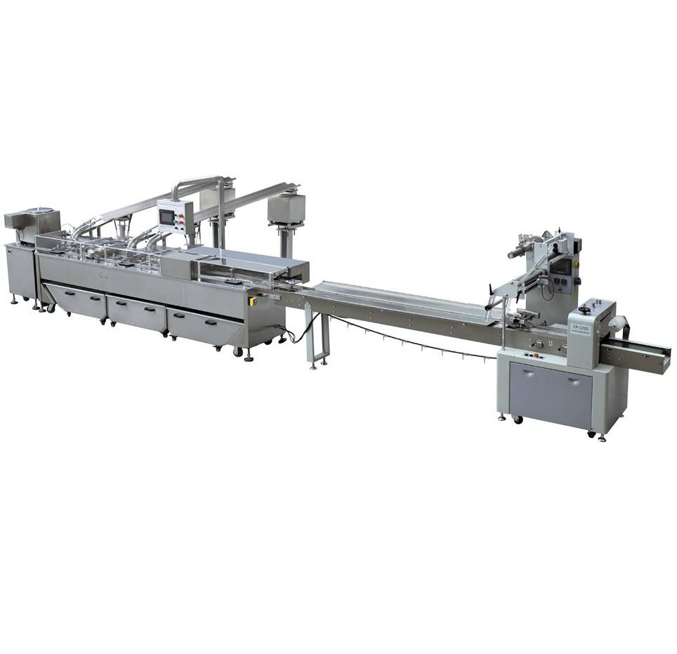 biscuit sandwiching machine connected to packing machine