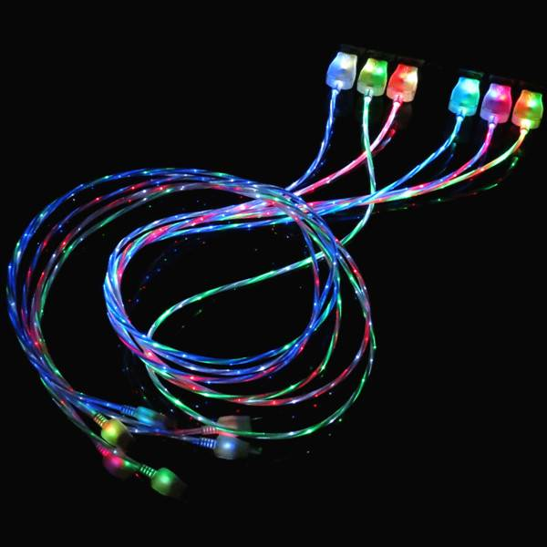 Pzcd Pz-54 LED Double Color Light Visible Data Sync / Charging Micro USB Cable for Android Cellphone