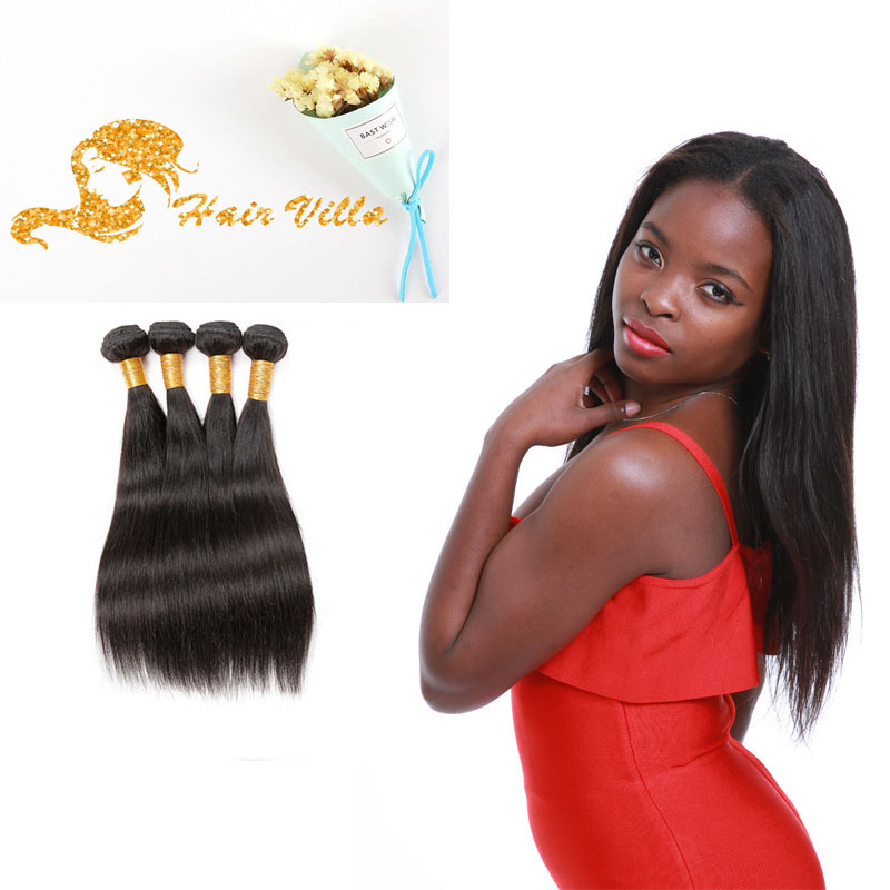 8A Brazilian Straight 4 Bundles Human Virgin Hair Weave