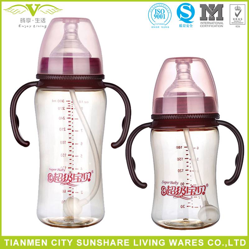 Anti-colic and Anti-drop Heat Resistance Wide-neck PPSU Baby Feeding Bottles With Handle