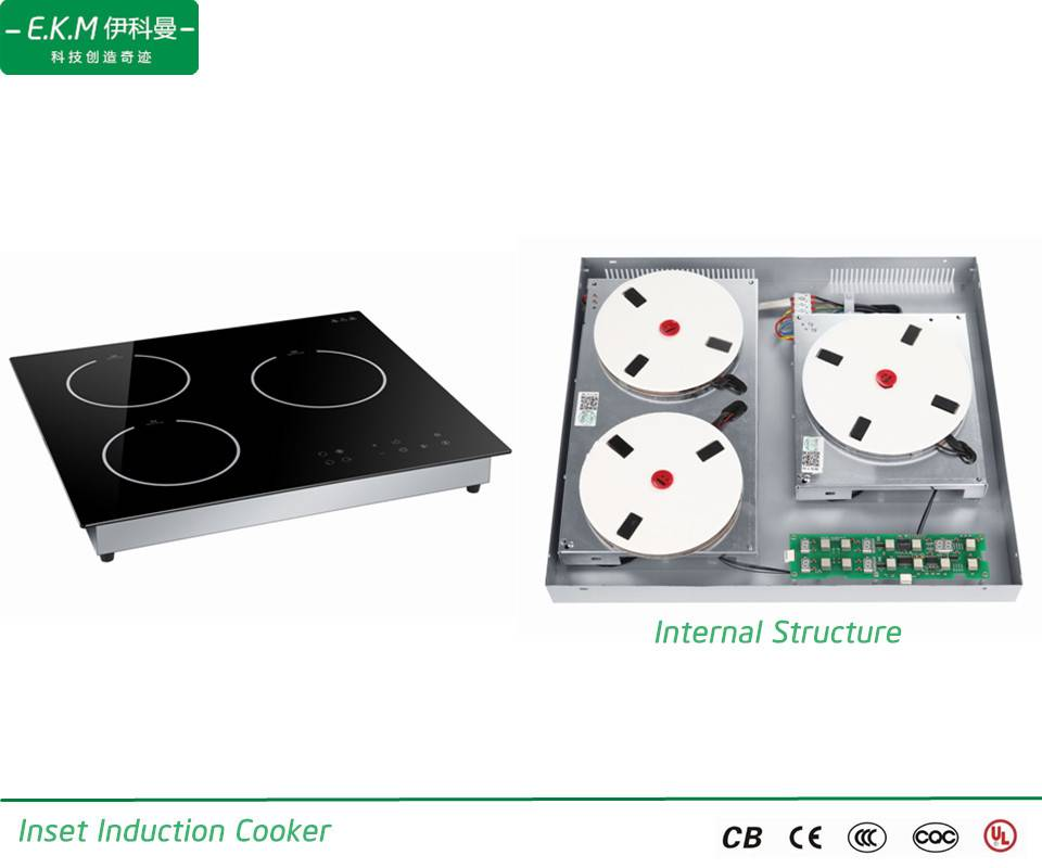 E.K.M Inset  Three Burner Induction Cooker, 5900W, Can Use 5 Years