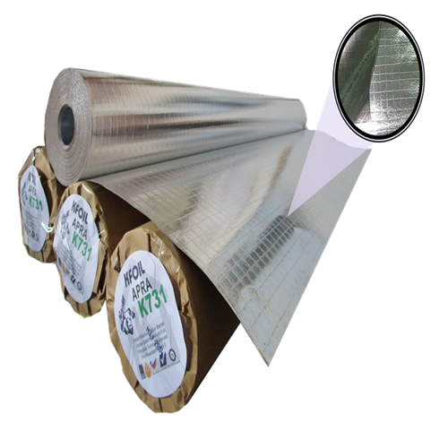 Fire Retardant Double Sided Reflective Aluminium Paper Foil, 8x8 Fiber Glass Scrim Reinforced (K731)