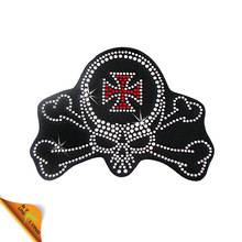 New Skull Design Wholesale Custom Hot Fix Rhinestone Patch