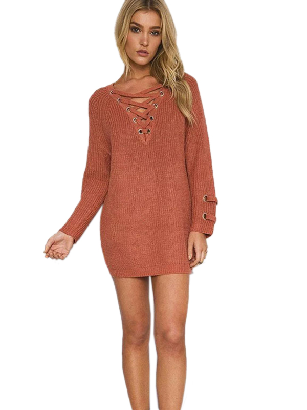 Casual Women Spring Autumn Lace Up Long Sleeve Sweater Mini Dress WT33073
