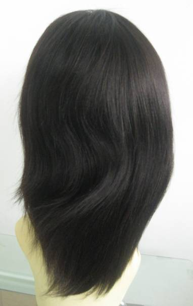 "Lace front wig, human hair 8"" color #2 Light Yaki"