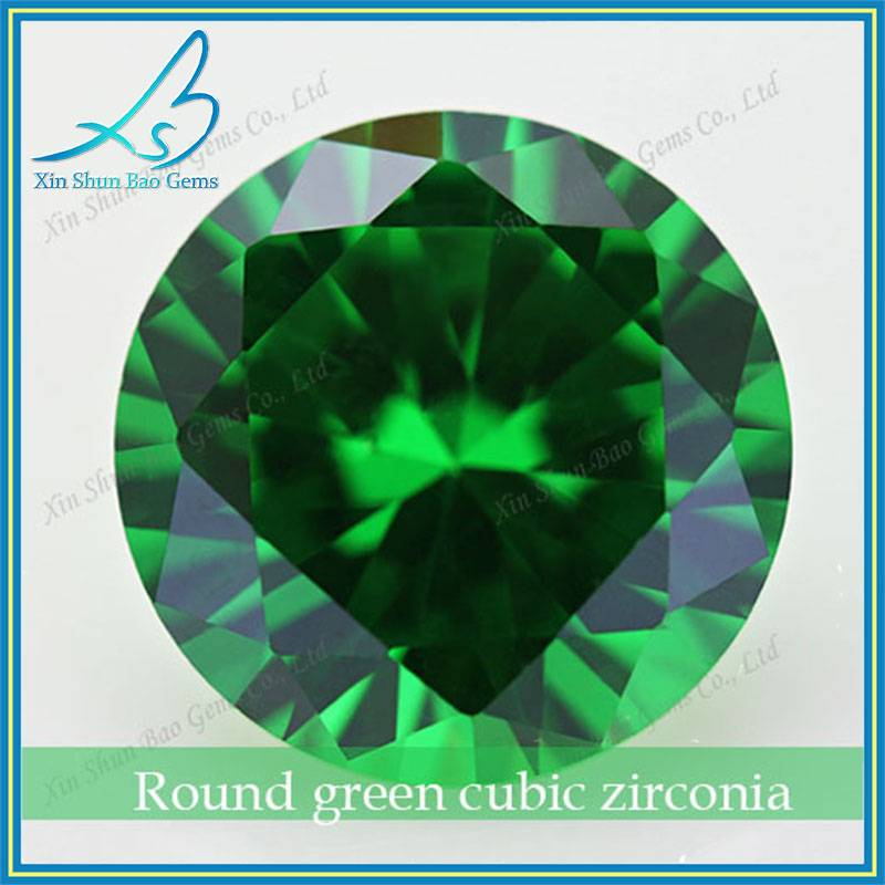 Factory price 3.5mm machine cut round cz emerald stone for ring