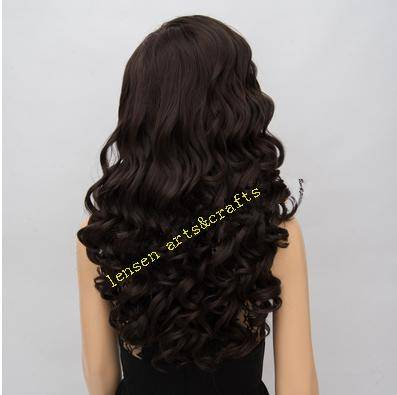 64cm dark brown  wave style fashion|!