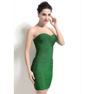 Plain Dyed Above Knee Length Sexy Strapless Green Wedding Dress