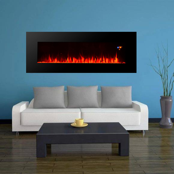 "50"" long linear wall mounted fireplace WF-50FS 2000W real flame comfort smart space heater indoor ro"