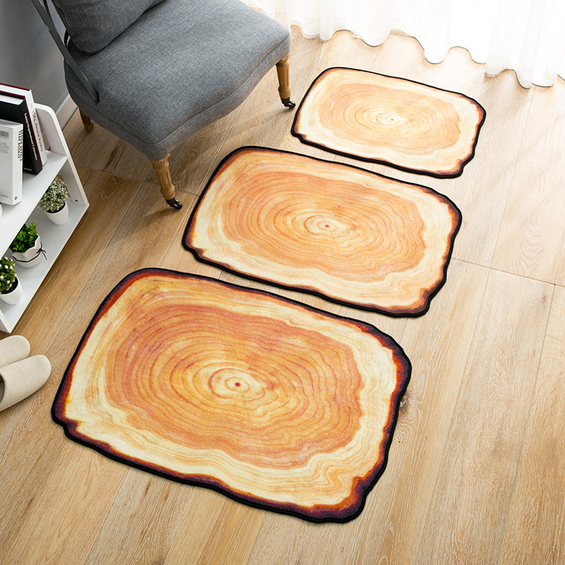 Creative Home Rugs Printed Tree Rings Floor Mat Polyester Non-slip Kitchen Bathroom Carpet Door Mat