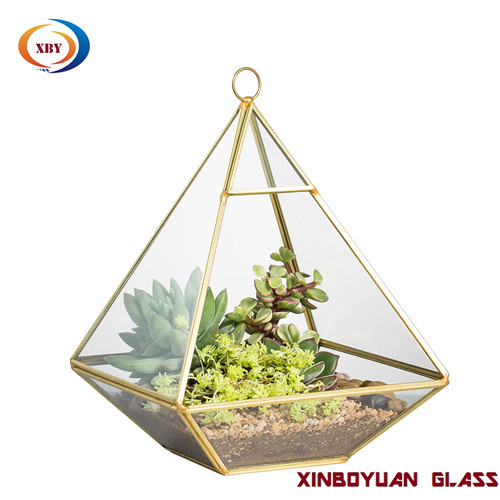 Glass terrarium geometric hanging vase
