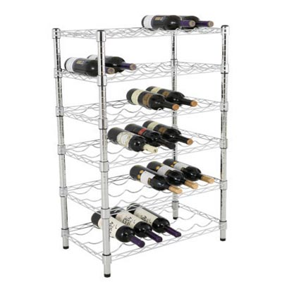6 Shelves Wire Wine Rack 48x18x72IN Chrome Finish Wire Shelving
