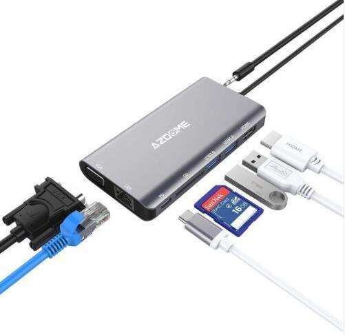 AZDOME JF18 8 in 1 Type C Hub Dock Station HDMI VGA USB 3.0 x 2 USB-C PD Port SD Card