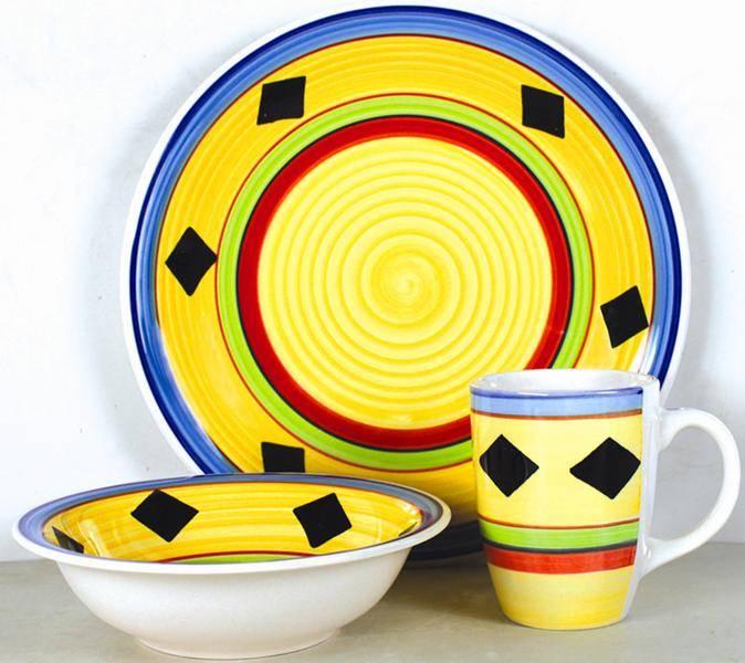 hand painted 12pcs stoneware dinnerware set