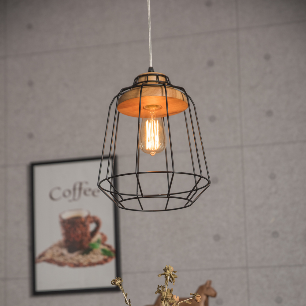 Vintage Iron Cage Edison bulb cage for wood pendant lamp
