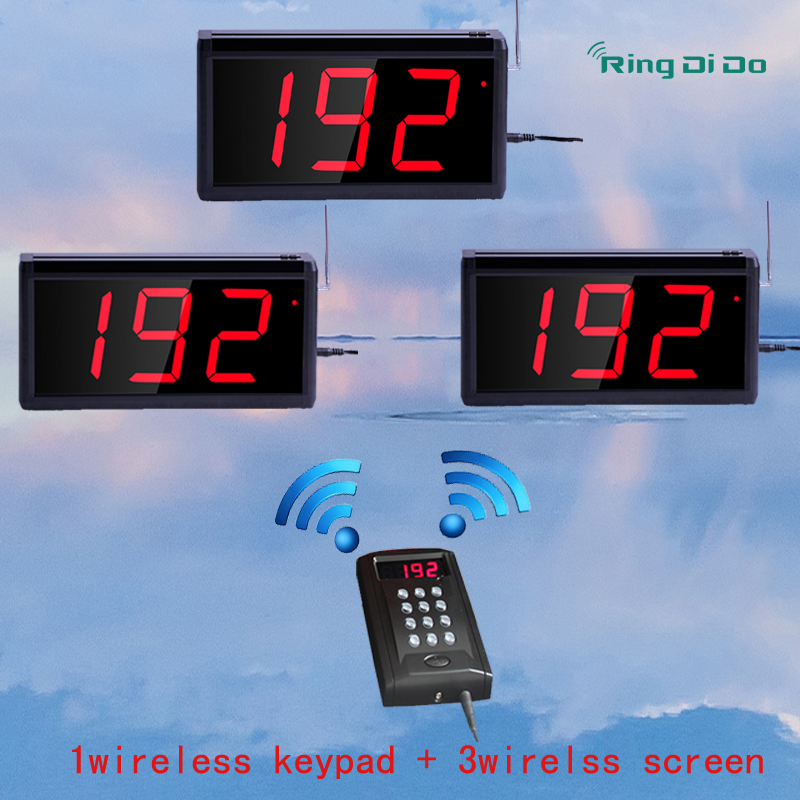 Wireless queuing and calling system,1pcs wireless keyapd+3pcs wireless screen