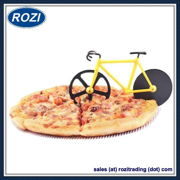 Bicycle Pizza Cutter Dual Stainless Steel Wheels Bike Pizza Knife