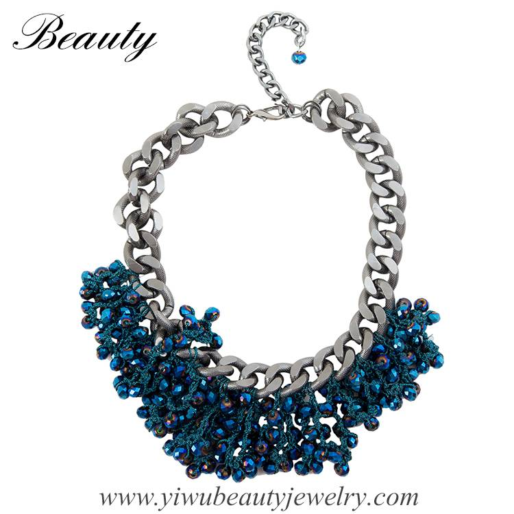 Blue Handmade Necklace,Beads Necklace