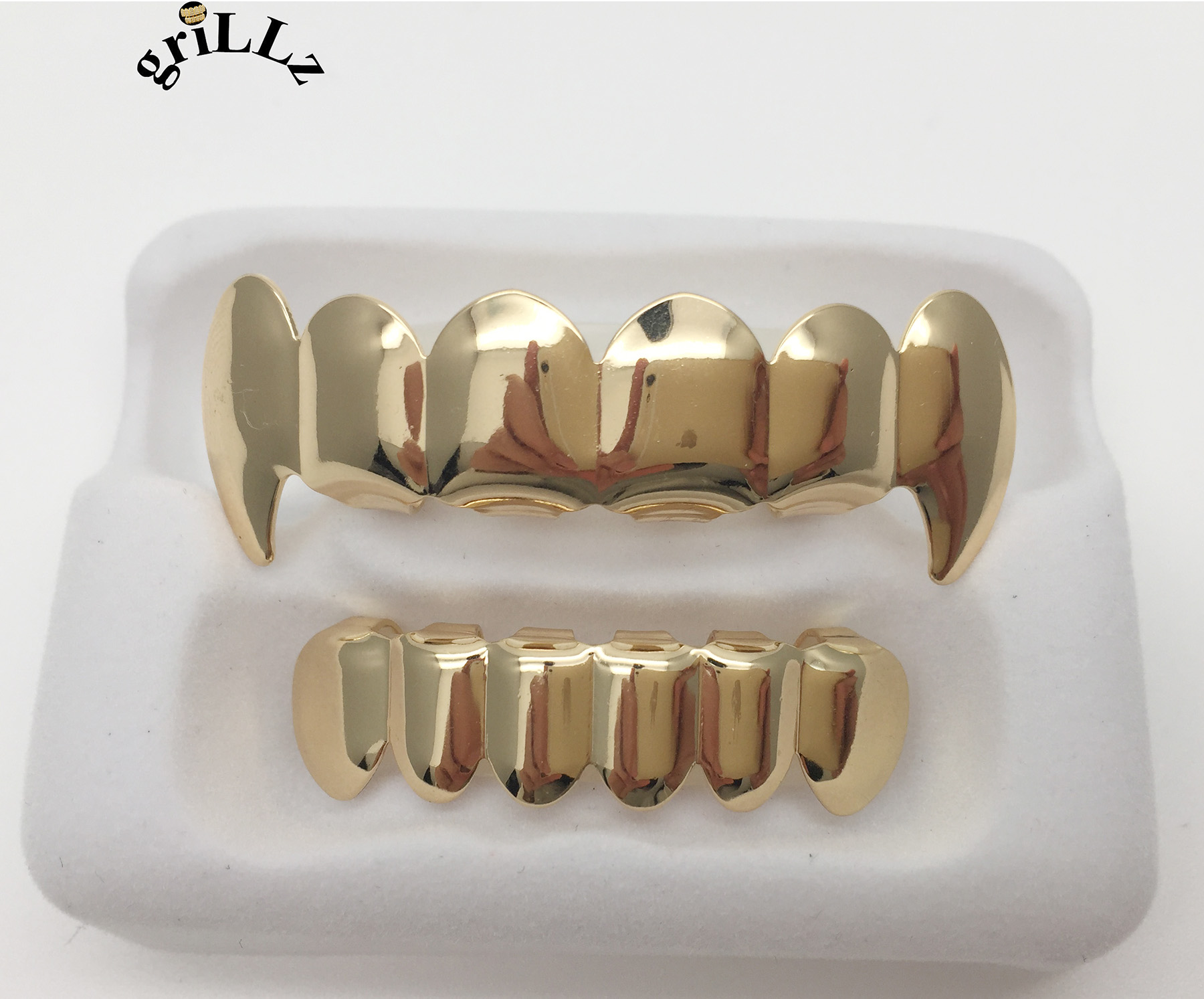 Grillz Brand BOXED HIPHOP TUSH TEETH VAMPIRE grillz TOP AND BOTTOM grillz SET WITH BOX body jewelry