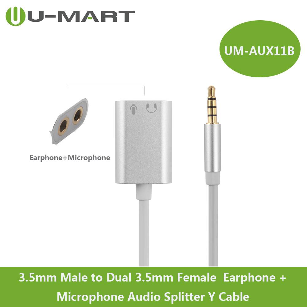 3.5mm Male to Dual 3.5mm Female Earphone+ Microphone Audio Y Splitter Cable--Aluminum Case