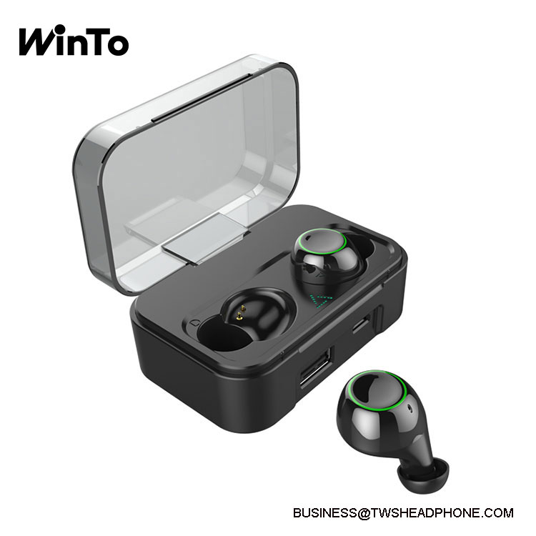 DE01 IPX7 waterproof wireless earbuds with breathing lights, 2600mAh charging case with USB output,