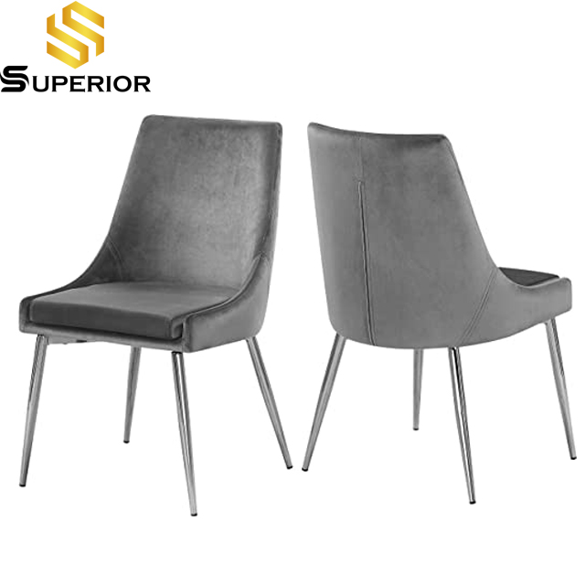 Simeple design grey stainless steel dining chair