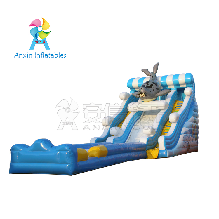 Inflatable commercial water park products Water Slides, seal sea dog type inflatable slide
