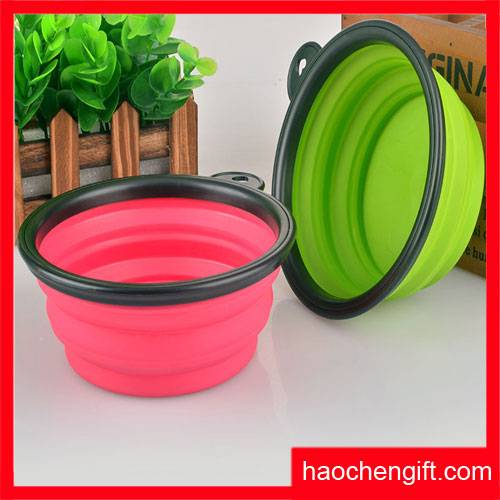 Food grade colorful silicone pet folding bowl for wholesale