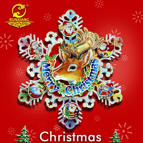 Paper Craft Snowflake with Reindeer Christmas wall Sticker