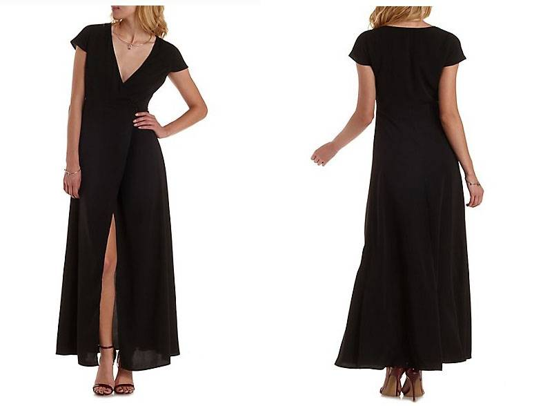 New design wrap black chiffon maxi dress for women