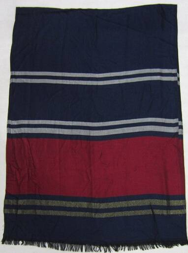 2014woven scarf dark blue with red colour strip shawls PG938
