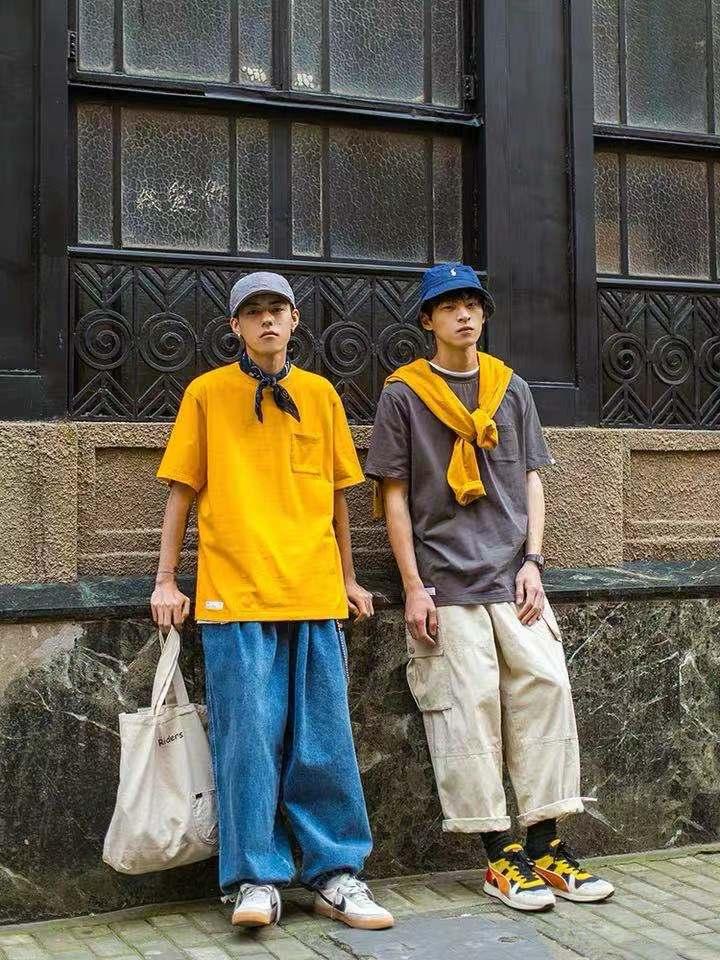 Japanese pocket color short sleeve T-shirt male fashion Korean version contracted half sleeve tee
