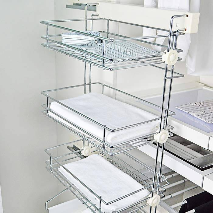 Slide Mounted Three Tier Pull Out Rack with Multi Purpose Tray