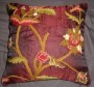 Crewel Pillow Allium Vermillion Silk Organza (16x16)