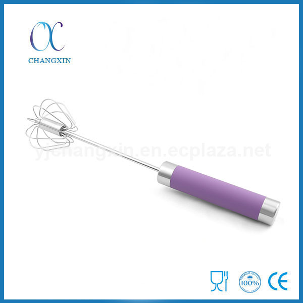 Hot Products Mini Rotating Stainless Steel Wire Whisk with TPR Handle